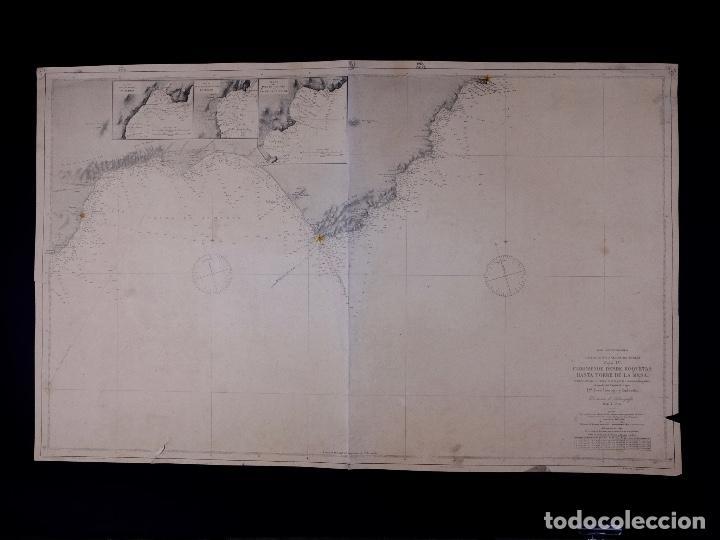 Líneas de navegación: CARTA NAUTICA DESDE ROQUETAS HASTA TORRE DE LA MESA, 1876 - Foto 2 - 111770623