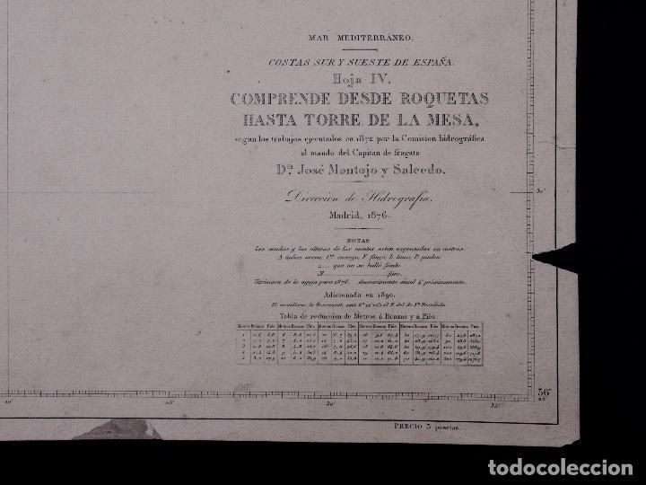 Líneas de navegación: CARTA NAUTICA DESDE ROQUETAS HASTA TORRE DE LA MESA, 1876 - Foto 3 - 111770623