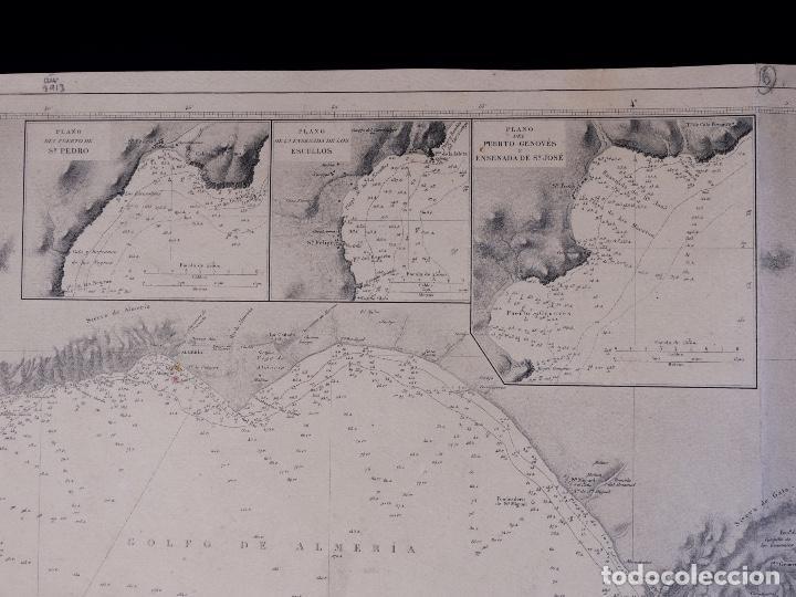 Líneas de navegación: CARTA NAUTICA DESDE ROQUETAS HASTA TORRE DE LA MESA, 1876 - Foto 4 - 111770623
