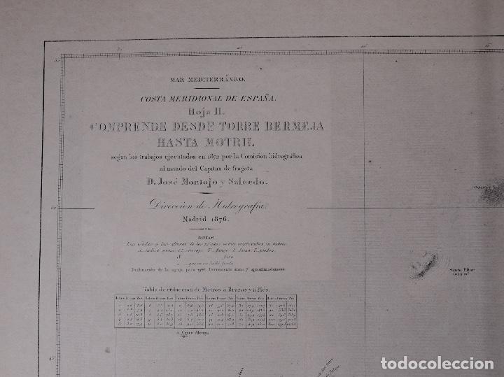 Líneas de navegación: CARTA NAUTICA DESDE TORRE BERMEJA HASTA MOTRIL, 1876 - Foto 2 - 111771623