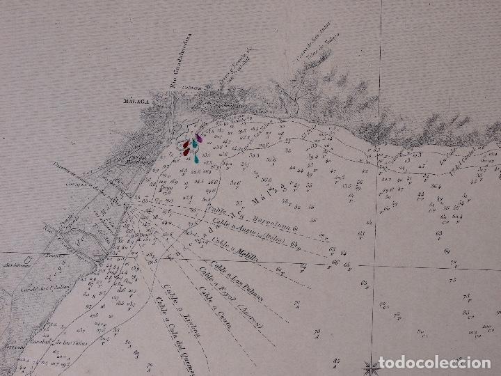Líneas de navegación: CARTA NAUTICA DESDE TORRE BERMEJA HASTA MOTRIL, 1876 - Foto 3 - 111771623