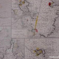 Líneas de navegación: CARTA NAUTICA DESDE CABO TORIÑANA HASTA ESTACA DE BARES, 1912-16. Lote 111773195