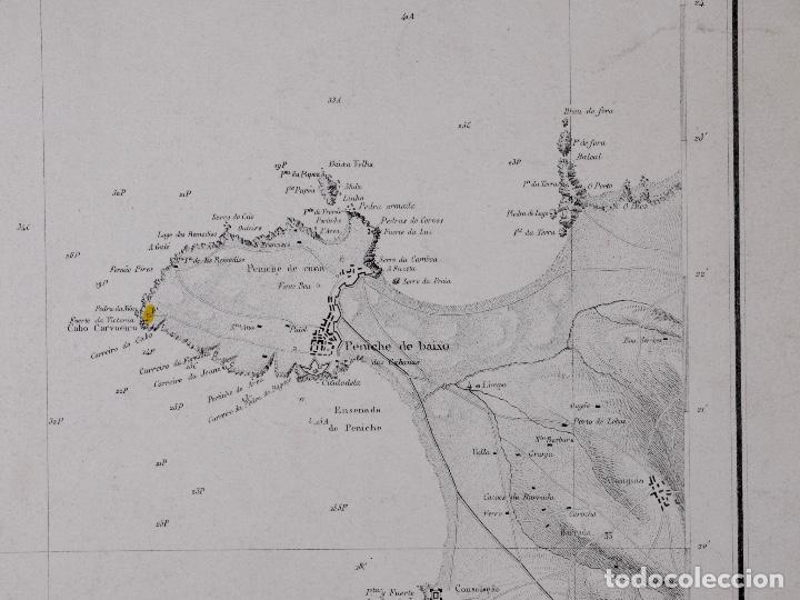 CARTA NAUTICA PORTUGAL, PENINSULA DE PENICHE Y DE LAS ISLAS BERLINGAS, 1854 (Coleccionismo - Líneas de Navegación)