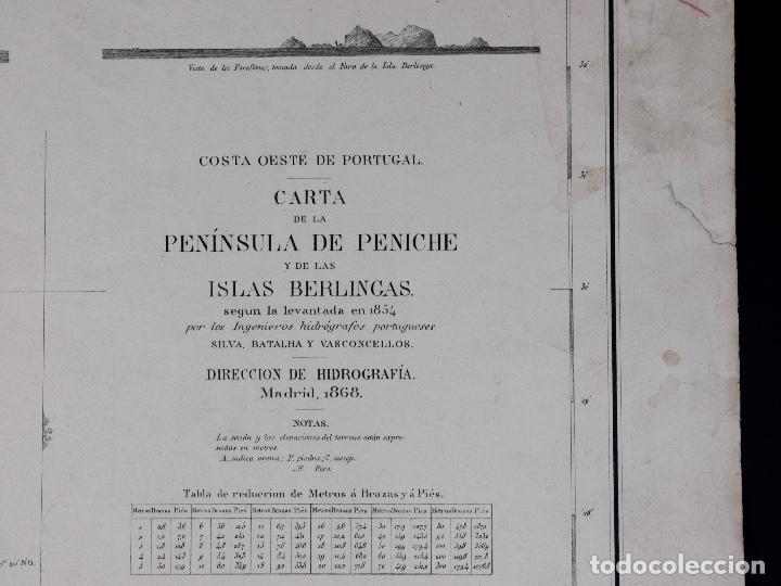 Líneas de navegación: CARTA NAUTICA PORTUGAL, PENINSULA DE PENICHE Y DE LAS ISLAS BERLINGAS, 1854 - Foto 2 - 111774119
