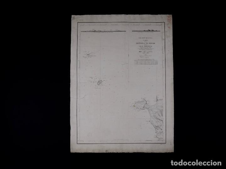 Líneas de navegación: CARTA NAUTICA PORTUGAL, PENINSULA DE PENICHE Y DE LAS ISLAS BERLINGAS, 1854 - Foto 3 - 111774119