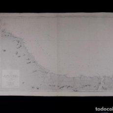 Líneas de navegación: CARTA NAUTICA DESDE SAN CIPRIAN HASTA LAS PANTORGAS, 1920. Lote 111774911