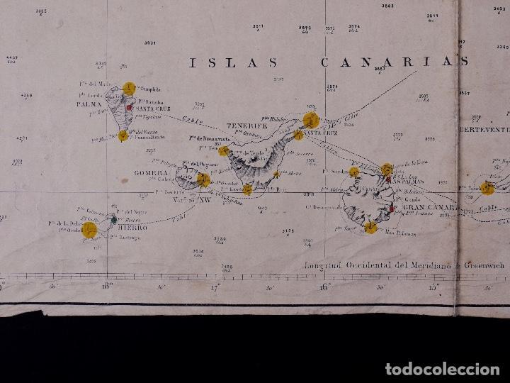 CARTA NAUTICA COSTA DE AFRICA, DESDE CABO SAN VICENTE A CABO YUBI, CANARIAS, TANGER, FUNCHAL...1902 (Coleccionismo - Líneas de Navegación)
