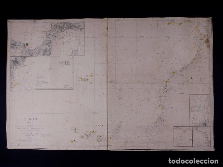Líneas de navegación: CARTA NAUTICA COSTA DE AFRICA, DESDE CABO SAN VICENTE A CABO YUBI, CANARIAS, TANGER, FUNCHAL...1902 - Foto 2 - 111775735