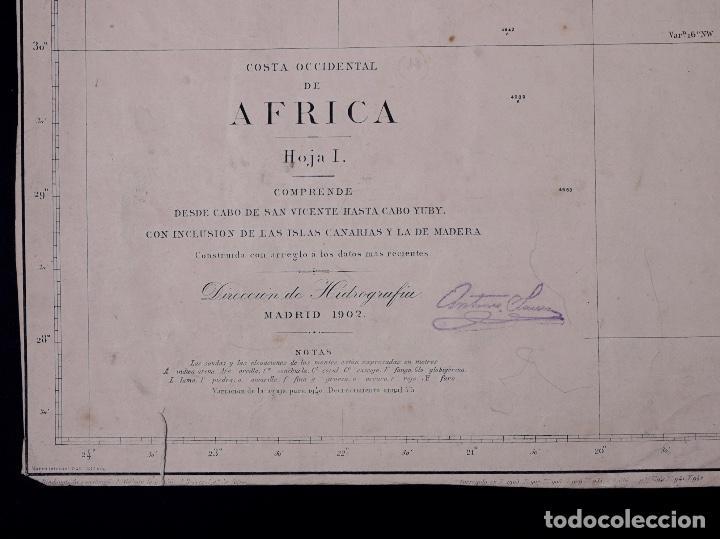Líneas de navegación: CARTA NAUTICA COSTA DE AFRICA, DESDE CABO SAN VICENTE A CABO YUBI, CANARIAS, TANGER, FUNCHAL...1902 - Foto 3 - 111775735