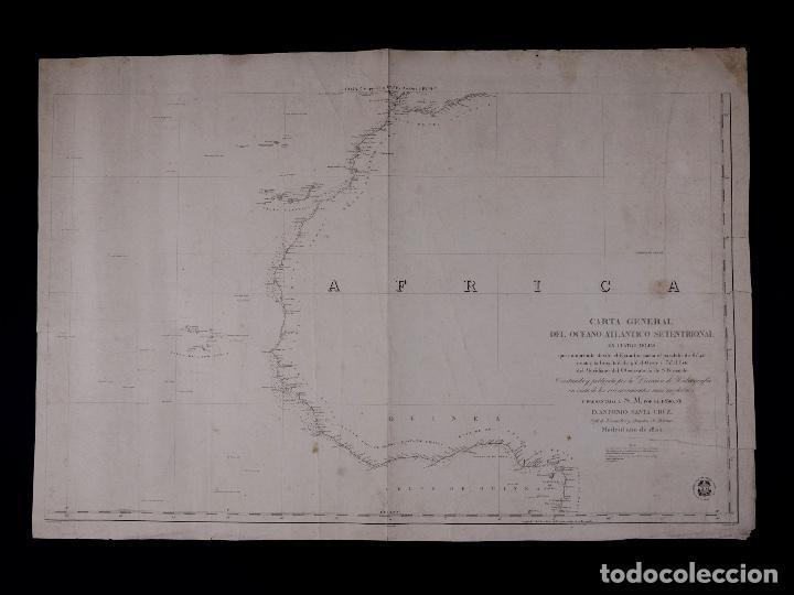 CARTA NAUTICA GENERAL OCEANO ATLANTICO SETENTRIONAL, GOLFO DE GUINEA, 1855 (Coleccionismo - Líneas de Navegación)