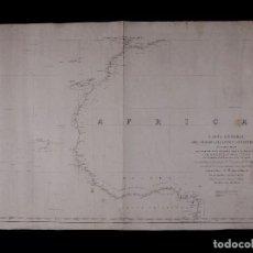 Líneas de navegación: CARTA NAUTICA GENERAL OCEANO ATLANTICO SETENTRIONAL, GOLFO DE GUINEA, 1855. Lote 111776891