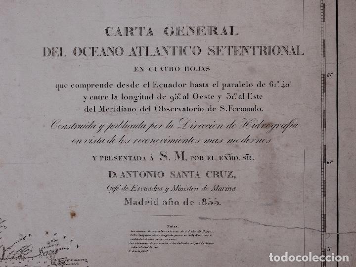 Líneas de navegación: CARTA NAUTICA GENERAL OCEANO ATLANTICO SETENTRIONAL, GOLFO DE GUINEA, 1855 - Foto 2 - 111776891