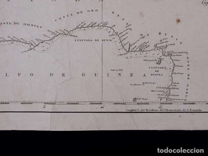 Líneas de navegación: CARTA NAUTICA GENERAL OCEANO ATLANTICO SETENTRIONAL, GOLFO DE GUINEA, 1855 - Foto 3 - 111776891