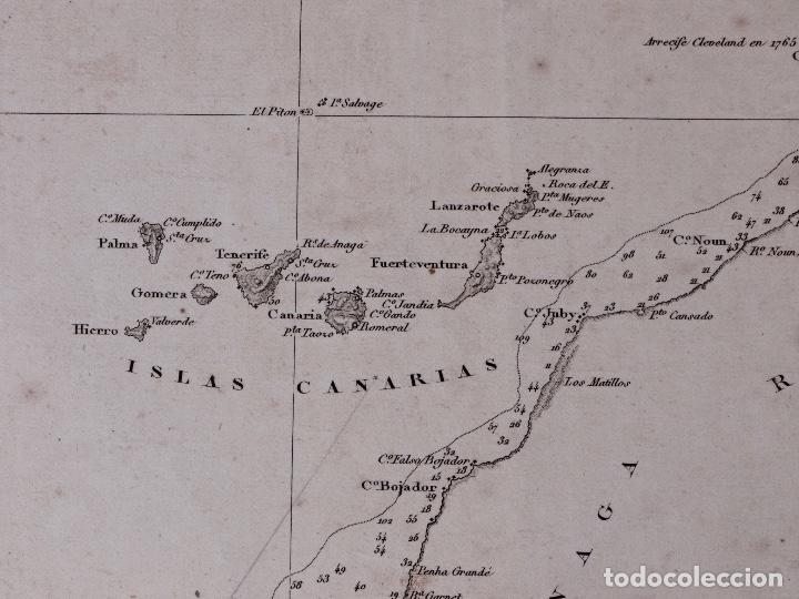 Líneas de navegación: CARTA NAUTICA GENERAL OCEANO ATLANTICO SETENTRIONAL, GOLFO DE GUINEA, 1855 - Foto 5 - 111776891