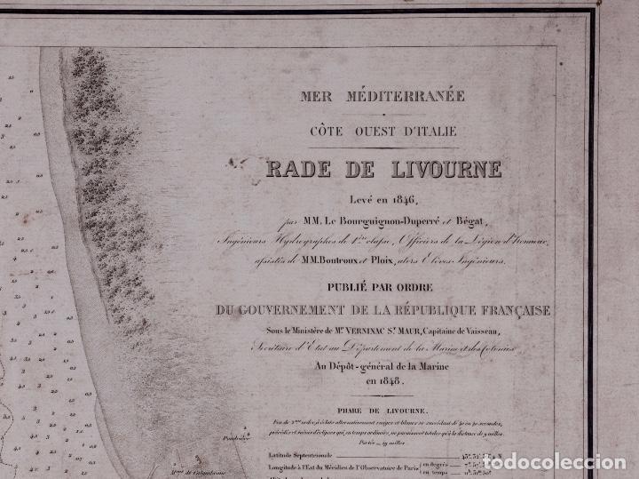 CARTA NAUTICA COSTA DE ITALIA, RADE DE LIVOURNE, 1848 (Coleccionismo - Líneas de Navegación)