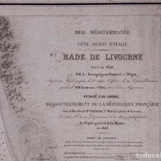 Líneas de navegación: CARTA NAUTICA COSTA DE ITALIA, RADE DE LIVOURNE, 1848. Lote 111782047