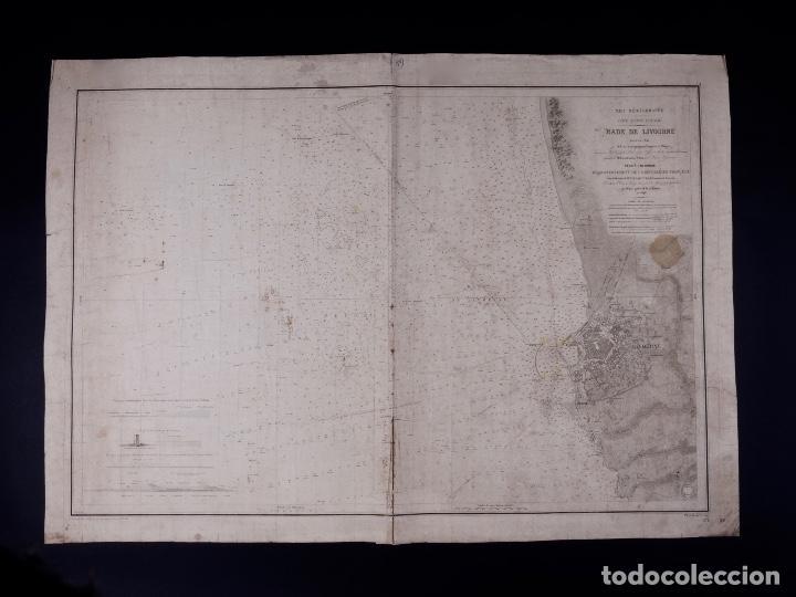 Líneas de navegación: CARTA NAUTICA COSTA DE ITALIA, RADE DE LIVOURNE, 1848 - Foto 2 - 111782047