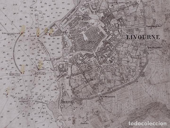 Líneas de navegación: CARTA NAUTICA COSTA DE ITALIA, RADE DE LIVOURNE, 1848 - Foto 3 - 111782047