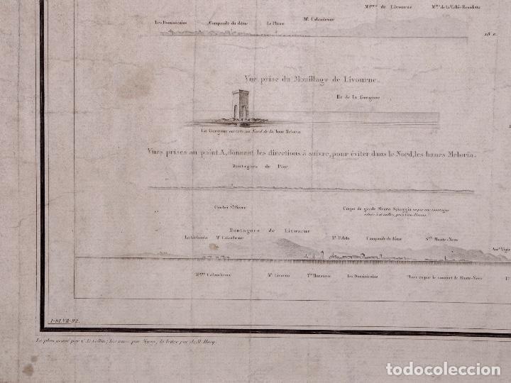 Líneas de navegación: CARTA NAUTICA COSTA DE ITALIA, RADE DE LIVOURNE, 1848 - Foto 4 - 111782047