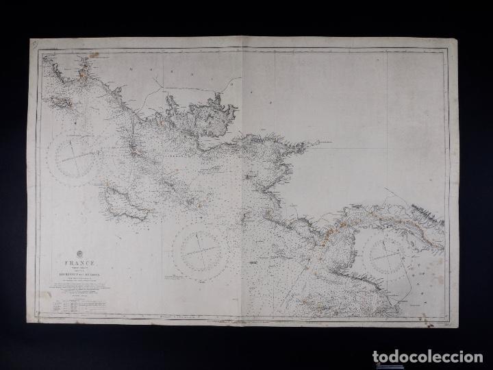 CARTA NAUTICA COSTA DE FRANCIA, BOURGNEUF TO I. DE GROIX, 1917 (Coleccionismo - Líneas de Navegación)
