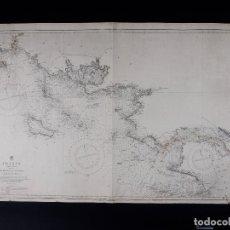 Líneas de navegación: CARTA NAUTICA COSTA DE FRANCIA, BOURGNEUF TO I. DE GROIX, 1917. Lote 111782267
