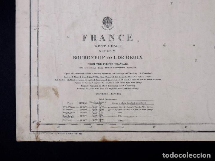 Líneas de navegación: CARTA NAUTICA COSTA DE FRANCIA, BOURGNEUF TO I. DE GROIX, 1917 - Foto 2 - 111782267