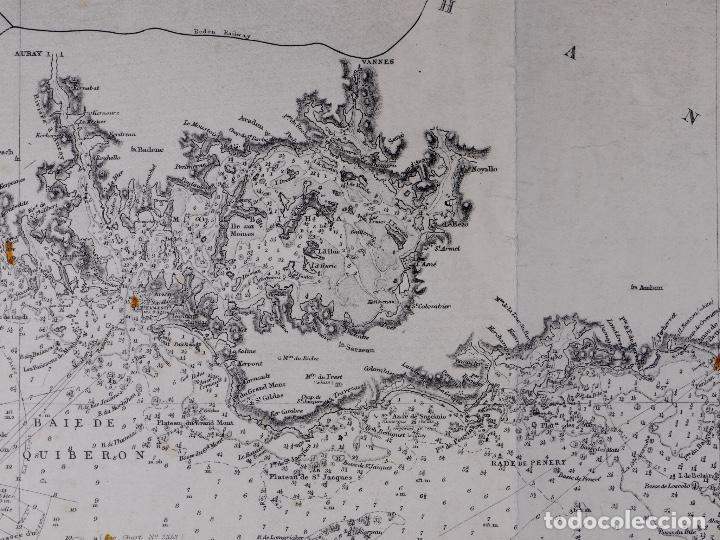 Líneas de navegación: CARTA NAUTICA COSTA DE FRANCIA, BOURGNEUF TO I. DE GROIX, 1917 - Foto 3 - 111782267