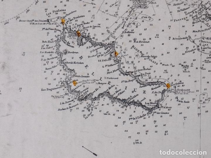 Líneas de navegación: CARTA NAUTICA COSTA DE FRANCIA, BOURGNEUF TO I. DE GROIX, 1917 - Foto 4 - 111782267