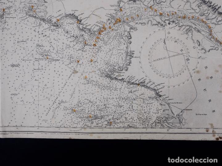 Líneas de navegación: CARTA NAUTICA COSTA DE FRANCIA, BOURGNEUF TO I. DE GROIX, 1917 - Foto 5 - 111782267