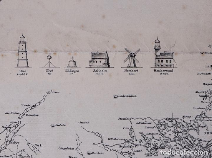 CARTA NAUTICA NORWAY, CRISTIANS AND TO SANDÖEN, 1901 (Coleccionismo - Líneas de Navegación)