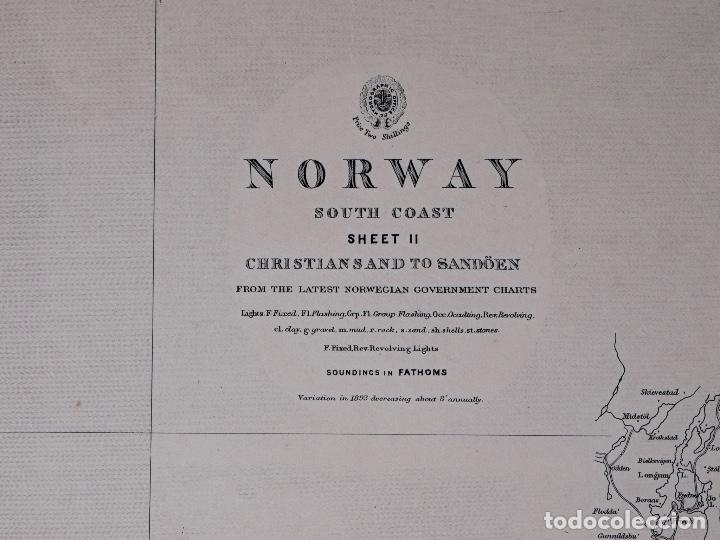 Líneas de navegación: CARTA NAUTICA NORWAY, CRISTIANS AND TO SANDÖEN, 1901 - Foto 3 - 111783311