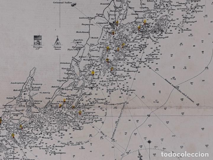 Líneas de navegación: CARTA NAUTICA NORWAY, CRISTIANS AND TO SANDÖEN, 1901 - Foto 4 - 111783311