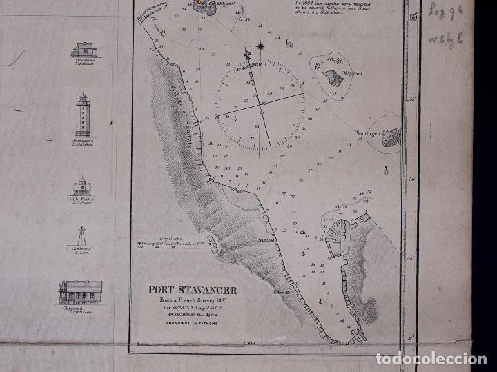 CARTA NAUTICA NORWAY, THE NAZE TO KARMÖ, 1898 (Coleccionismo - Líneas de Navegación)