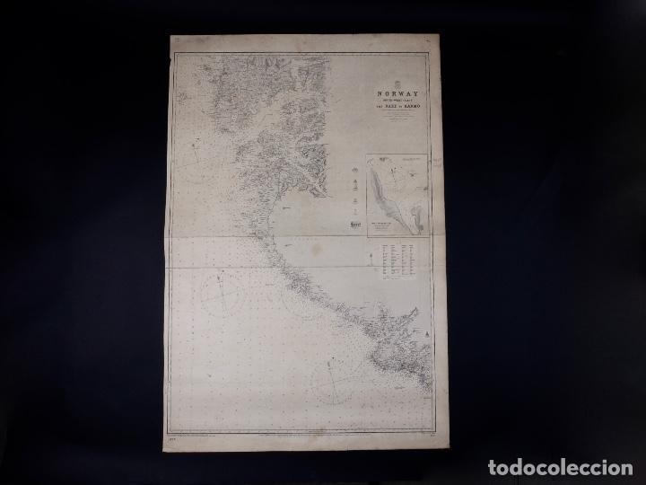 Líneas de navegación: CARTA NAUTICA NORWAY, THE NAZE TO KARMÖ, 1898 - Foto 2 - 111784167