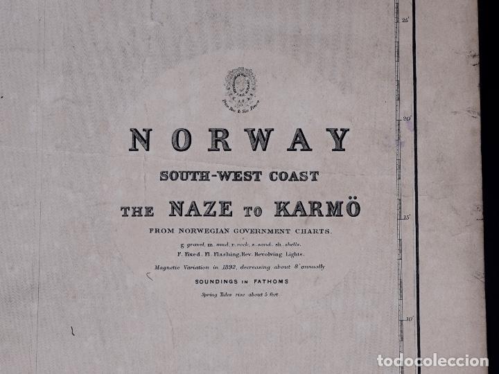 Líneas de navegación: CARTA NAUTICA NORWAY, THE NAZE TO KARMÖ, 1898 - Foto 3 - 111784167