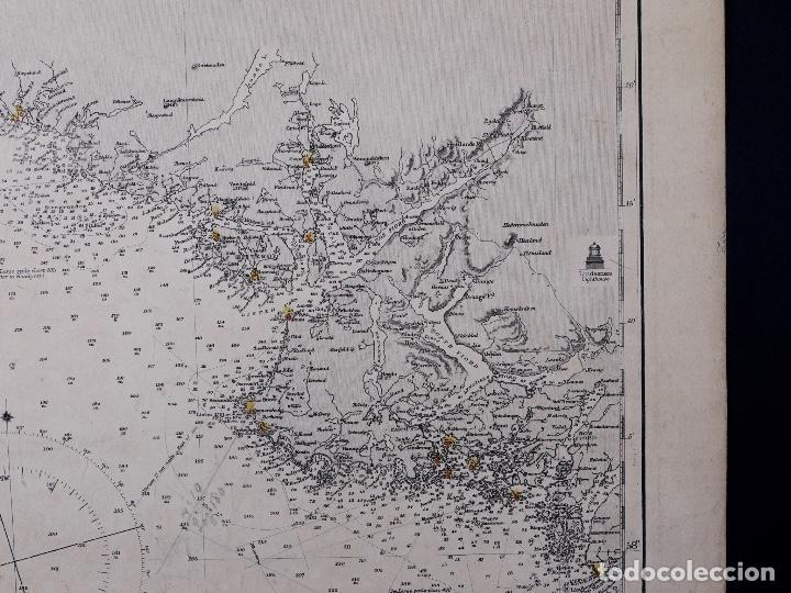 Líneas de navegación: CARTA NAUTICA NORWAY, THE NAZE TO KARMÖ, 1898 - Foto 4 - 111784167