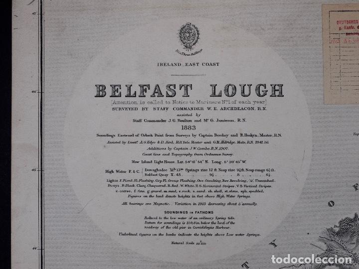 CARTA NAUTICA IRELAND, BELFAST LOUGT, 1883 (Coleccionismo - Líneas de Navegación)
