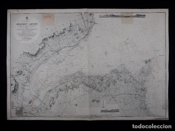Líneas de navegación: CARTA NAUTICA IRELAND, BELFAST LOUGT, 1883 - Foto 2 - 111785455