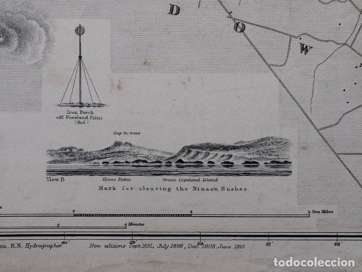 Líneas de navegación: CARTA NAUTICA IRELAND, BELFAST LOUGT, 1883 - Foto 4 - 111785455
