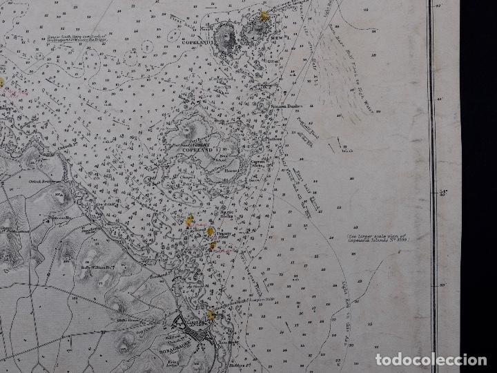 Líneas de navegación: CARTA NAUTICA IRELAND, BELFAST LOUGT, 1883 - Foto 5 - 111785455