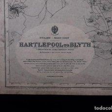 Líneas de navegación: CARTA NAUTICA ENGLAND, HARTLEPOOL TO BLYTH, 1926. Lote 111785839