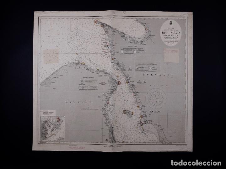 CARTA NAUTICA DER SUND NÖRDLICHER TEIL, 1915 (Coleccionismo - Líneas de Navegación)