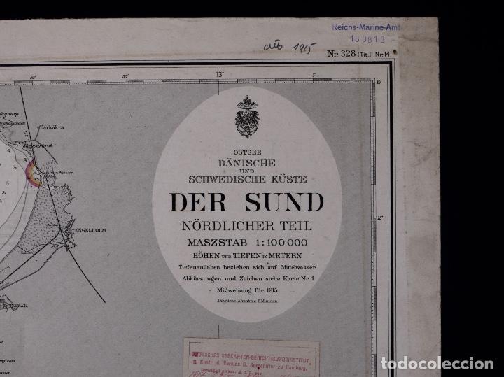Líneas de navegación: CARTA NAUTICA DER SUND NÖRDLICHER TEIL, 1915 - Foto 2 - 111786147