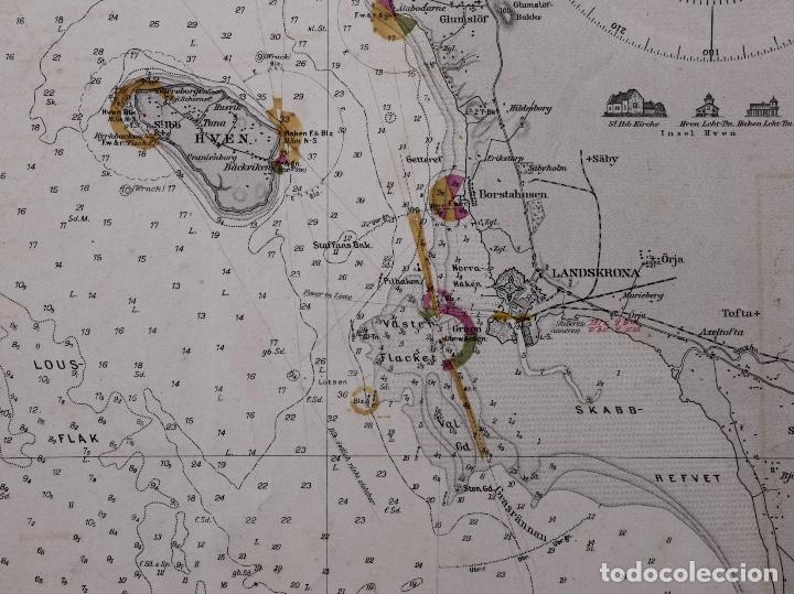 Líneas de navegación: CARTA NAUTICA DER SUND NÖRDLICHER TEIL, 1915 - Foto 4 - 111786147