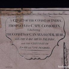 Líneas de navegación: CARTA NAUTICA COAST OF INDIA, FRON GOA TO CAPE COMORIN, 1818. Lote 111786771