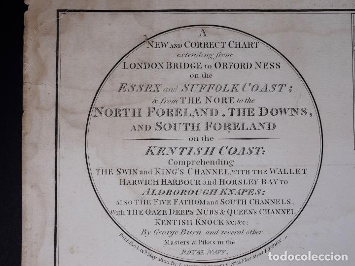Líneas de navegación: CARTA NAUTICA NORTH FORELAND, THE DOWNS AND SOUTH FORELAND, 1800 - Foto 2 - 111787239