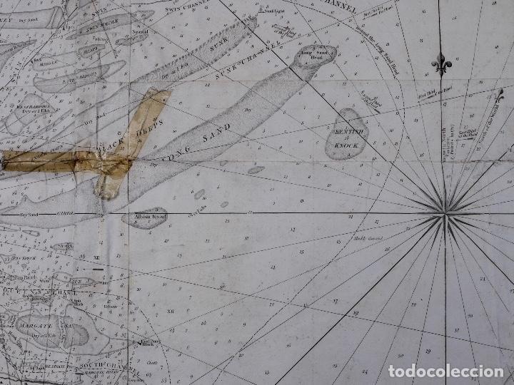 Líneas de navegación: CARTA NAUTICA NORTH FORELAND, THE DOWNS AND SOUTH FORELAND, 1800 - Foto 6 - 111787239