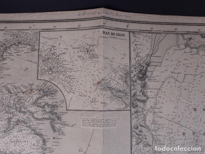 CARTA NAUTICA FRANCE (TRES HOJAS), BREST AND BORDEAUX, 1929 (Coleccionismo - Líneas de Navegación)