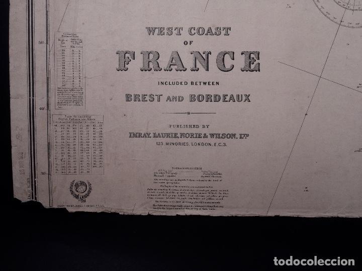 Líneas de navegación: CARTA NAUTICA FRANCE (TRES HOJAS), BREST AND BORDEAUX, 1929 - Foto 2 - 111788519