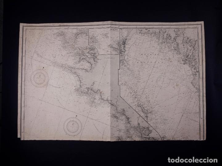 Líneas de navegación: CARTA NAUTICA FRANCE (TRES HOJAS), BREST AND BORDEAUX, 1929 - Foto 3 - 111788519